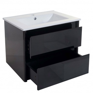 Waschbecken + Unterschrank HWC-B19, Waschbecken Waschtisch Badezimmer, hochglanz 50x60cm schwarz