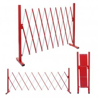 Absperrgitter HWC-B34, Scherengitter Zaun Schutzgitter ausziehbar, Alu rot-weiß ~ Höhe 103cm, Breite 32-265cm