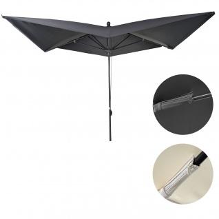Luxus-Sonnenschirm HWC-A37, Marktschirm Gartenschirm, 3x3m (Ø4, 24m) Polyester/Alu 10kg ~ anthrazit ohne Ständer