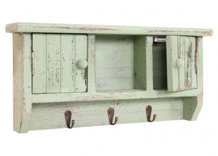 Schlüsselbrett HWC-A48, Schlüsselkasten Schlüsselboard mit Türen, Massiv-Holz ~ shabby grün - Vorschau 4