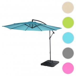 Ampelschirm Acerra, Sonnenschirm Sonnenschutz, Ø 3m neigbar, Polyester/Stahl 11kg ~ türkis-blau mit Ständer