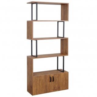 Bücherregal HWC-A27, Regal Standregal Raumteiler Wohnregal, Staufach mit Tür 183x80cm 3D-Struktur Wi