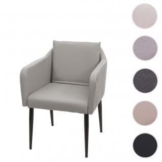 Esszimmerstuhl HWC-H93, Küchenstuhl Lehnstuhl Stuhl ~ Kunstleder taupe-grau