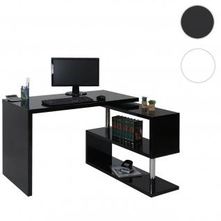 Design Eckschreibtisch HWC-A68, Bürotisch Schreibtisch, hochglanz drehbar 120x60cm ~ schwarz