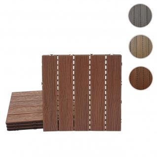 WPC Bodenfliese HWC-E19, Holzoptik Balkon/Terrasse, 3D-Struktur linear ~ dunkelbraun, 4x je 50x50cm = 1qm
