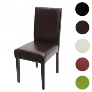 Esszimmerstuhl Littau, Küchenstuhl Stuhl, Kunstleder ~ braun, dunkle Beine