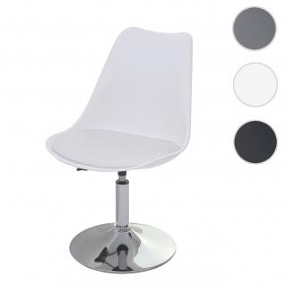 Drehstuhl Malmö T501, Stuhl Küchenstuhl, höhenverstellbar, Kunstleder ~ weiß, Chromfuß