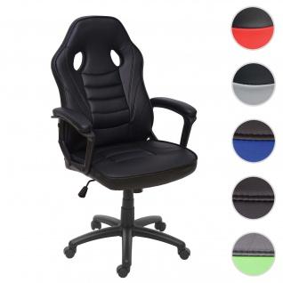 Bürostuhl HWC-F59, Schreibtischstuhl Drehstuhl Racing-Chair Gaming-Chair, Kunstleder ~ schwarz