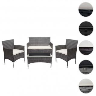 Poly-Rattan Garnitur HWC-F55, Balkon-/Garten-/Lounge-Set Sofa Sitzgruppe ~ grau, Kissen creme
