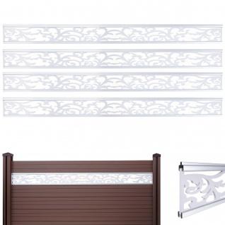 4x Dekopaneel für WPC-Sichtschutz Sarthe, Verkleidung, 16x177cm weiß