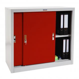 Aktenschrank Valberg T333, Metallschrank Büroschrank, 2 Schiebetüren 83x91x46cm rot