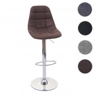 Barhocker HWC-A67, Barstuhl Tresenhocker ~ vintage dunkelbraun Stoff/Textil, Fuß chrom