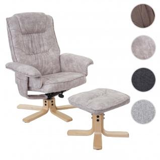 Relaxsessel M56, Fernsehsessel TV-Sessel mit Hocker, Stoff/Textil ~ vintage hellgrau