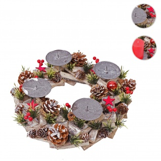 Adventskranz HWC-H50, Weihnachtsdeko Adventsgesteck Weihnachtsgesteck, Holz rund Ø 33cm ~ ohne Kerzen