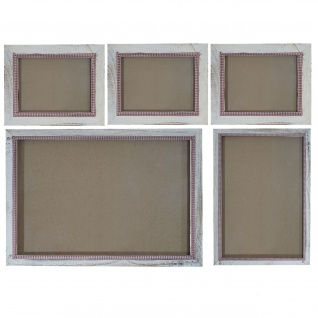 Bilderrahmen Set, Fotorahmen Wand-Rahmen, 3x 19x24cm 1x 26x36cm 1x 36x51cm Holz Shabby Landhaus ~ weiß