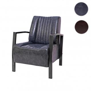 Sessel HWC-H10, Loungesessel Polstersessel Relaxsessel, Metall Industriedesign ~ vintage grau