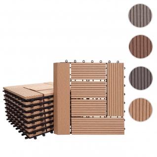 WPC Bodenfliese Rhone + Abschluss, Holzoptik Balkon/Terrasse, 11x je 30x30cm = 1qm Premium ~ teak versetzt