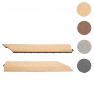 2x Abschlussleiste für WPC Bodenfliese Rhone, Abschlussprofil, Holzoptik Balkon/Terrasse ~ teak rechts ohne Haken