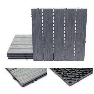 WPC Bodenfliese HWC-E21, Holzoptik Balkon/Terrasse, 3D-Struktur linear beschichtet-grau ~ 4x je 50x50cm = 1qm