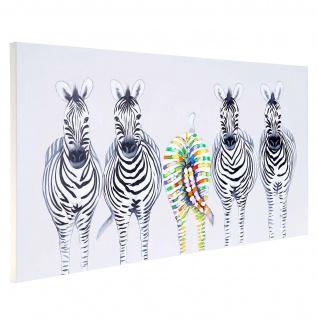 Ölgemälde Zebras II, 100% handgemaltes Wandbild Gemälde XL, 140x70cm - Vorschau 3