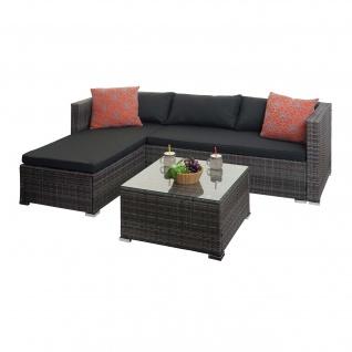 Poly-Rattan Garnitur HWC-F57, Balkon-/Garten-/Lounge-Set Sofa Sitzgruppe ~ grau, Kissen dunkelgrau mit Deko-Kissen - Vorschau 2