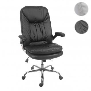 Bürostuhl HWC-F81, Schreibtischstuhl Chefsessel Drehstuhl, Federkern Kunstleder schwarz
