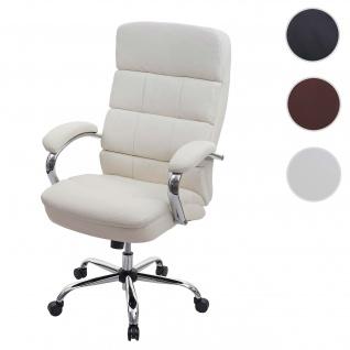 XXL Bürostuhl HWC-H95, Drehstuhl Schreibtischstuhl Chefsessel, 220kg belastbar Federkern Kunstleder ~ creme-beige
