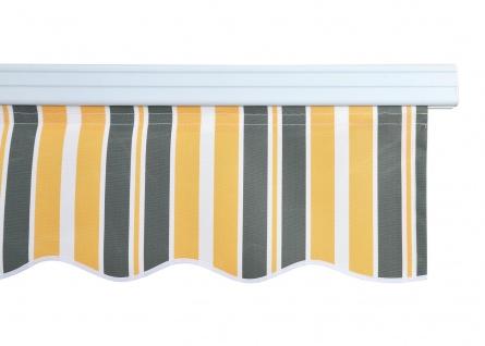 Alu-Markise HWC-E49, Gelenkarmmarkise Sonnenschutz 2, 5x2m ~ Polyester grau-gelb gestreift - Vorschau 3