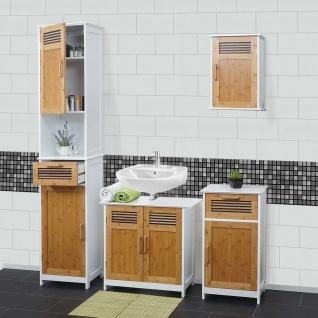 Badezimmerset HWC-A85, Badmöbel Hochschrank Waschbeckenunterschrank Hängeschrank Kommode Bambus, weiß