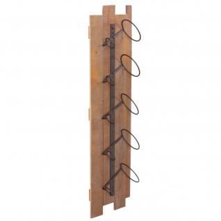 Weinregal HWC-B99, Wandregal Flaschenhalter, Holz Metall für 5 Flaschen 96x23x14cm