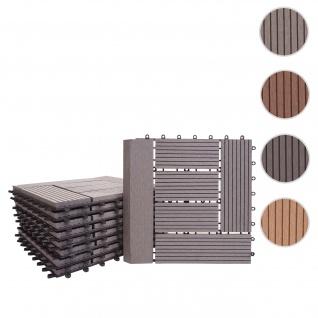 WPC Bodenfliese Rhone + Abschluss, Holzoptik Balkon/Terrasse, 11x je 30x30cm = 1qm Premium ~ grau versetzt