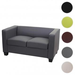 2er Sofa Couch Loungesofa Lille ~ Kunstleder, dunkelgrau