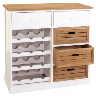 Weinregal HWC-B96, Kommode Flaschenregal für 12 Flaschen mit Schubladen, Landhaus 86x87x37cm - Vorschau 1