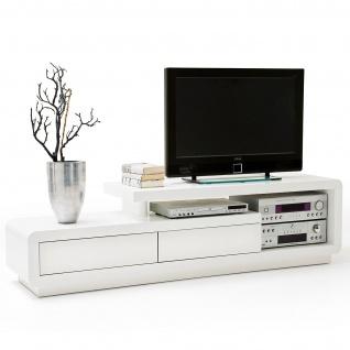 MCA TV-Rack Celia, Lowboard Fernsehtisch mit Schubladen, hochglanz weiß 45x170x40cm Weiß
