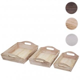 3er Set Tablett HWC-C50, Serviertablett Holztablett Frühstückstablett Dekotablett, Shabby-Look Vintage ~ naturbraun