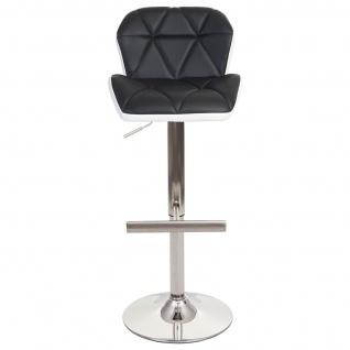 2x Barhocker HWC-A92, Barstuhl Tresenhocker, höhenverstellbar Kunstleder ~ schwarz, Fuß gebürstet - Vorschau 4