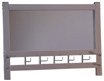 Wandgarderobe mit Spiegel H74, Wandspiegel Spiegel Garderobe, 50x69x9cm ~ Alu-Optik