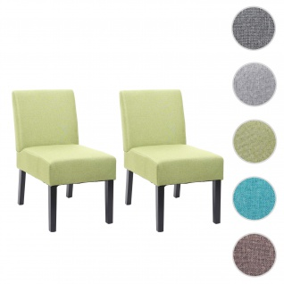 2x Esszimmerstuhl HWC-F61, Stuhl Lounge-Stuhl, Stoff/Textil ~ grün