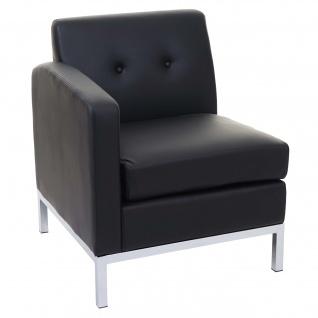 Sessel HWC-C19, Modular-Sofa Seitenteil links mit Armlehne, erweiterbar Kunstleder schwarz