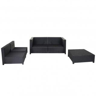 Poly-Rattan-Garnitur Tapa, Gartengarnitur Sitzgruppe Lounge-Set, Alu anthrazit