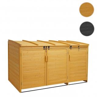XL 3er-/6er-Mülltonnenverkleidung HWC-H75, Mülltonnenbox, erweiterbar 116x66x92cm Holz FSC-zertifiziert ~ braun