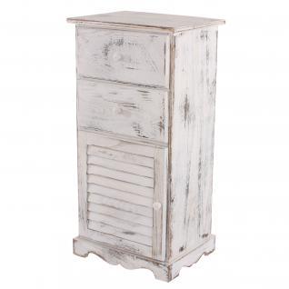 Kommode Schrank, 81x40x32cm, Shabby-Look, Vintage weiß
