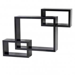 Wandregal Lund, Hängeregal Bücherregal, 47x67x10cm schwarz