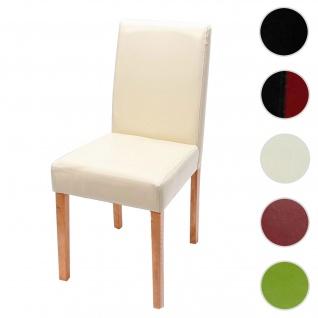Esszimmerstuhl Littau, Küchenstuhl Stuhl, Kunstleder ~ creme, helle Beine