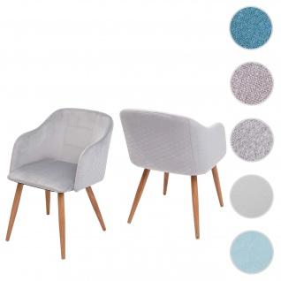 2x Esszimmerstuhl HWC-D71, Stuhl Küchenstuhl, Retro Design, Armlehnen Stoff/Textil ~ Samt hellgrau