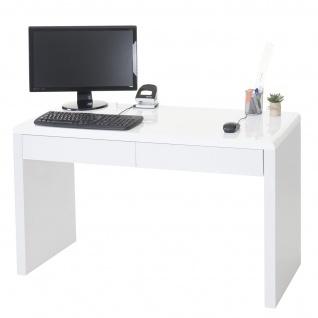 Design Schreibtisch Edmonton, Bürotisch Computertisch, hochglanz 120x50cm weiß