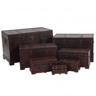 7er Set Holztruhe Holzbox Valence 10x21x10 bis 49x77x47cm eckig