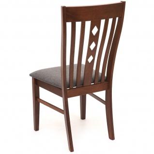 2x Esszimmerstuhl HWC-G62, Küchenstuhl Lehnstuhl Stuhl, Stoff/Textil Massiv-Holz Landhaus dunkles Gestell, grau - Vorschau 2