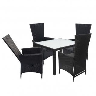 Poly-Rattan Garnitur HWC-F49, Garten-/Lounge-Set Sitzgruppe, verstellbare Lehne 90x90cm anthrazit, Kissen dunkelgrau