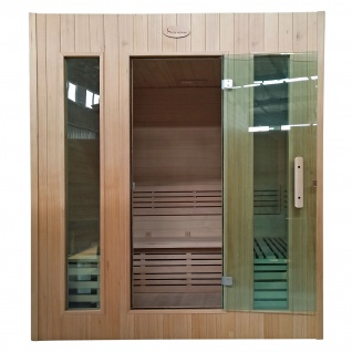 Sauna HWC-D59, Saunakabine Wärmekabine, Saunaofen 4, 5kW Saunasteine Sicherheitsglas 4 Personen 200x175x160cm - Vorschau 3
